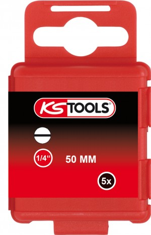 "KS Tools 911.2765 1/4"" CLASSIC Bit Schlitz, 50mm, 6,5mm, 5er Pack"